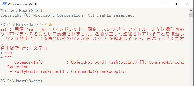 OpenSSHが使えないことを確認